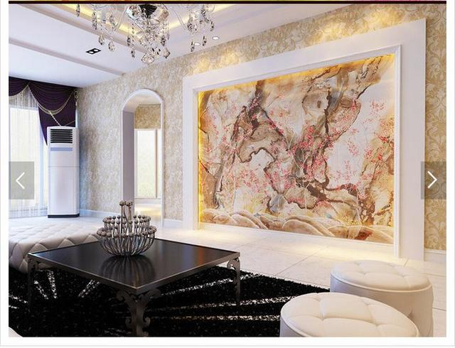 Kundenspezifische 3d Fototapete 3d Tv Wand Tapetenwandbilder Jade ... Fototapete Wohnzimmer Beige