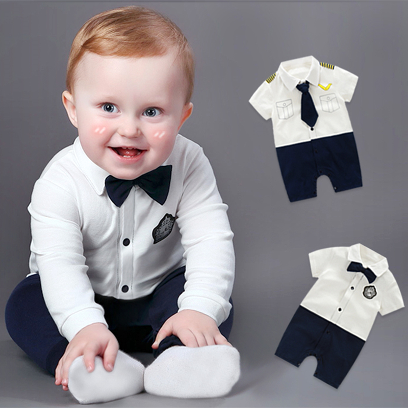 2016 Summer Newborn Baby Boy Rompers Gentleman Clothing Set Cotton Bow Tie Leisure Body Suit Toddler Jumpsuit Baby Boys Clothes newborn baby girls rompers 100% cotton long sleeve angel wings leisure body suit clothing toddler jumpsuit infant boys clothes