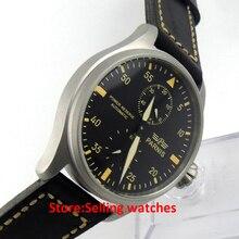 47mm parnis negro dial caso de chorro de arena gris power reserve reloj automático para hombre