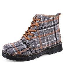 Mulheres Sapatos Casuais Lona bota feminina 2018 Projeto o Mais Novo Mulheres de Inverno Botas Quentes Dedo Do Pé Redondo Gingham Costura Botas de Neve Tornozelo