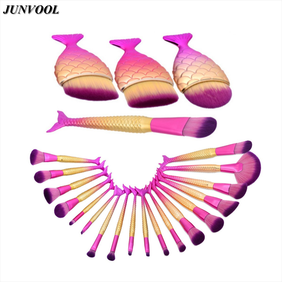 Pro Fish Tail Makeup Brushes Set Mermaid Foundation Blending Powder Eyeshadow Contour Fan Brush Comestic Beauty Make Up Kit Pink