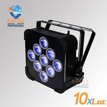 12X LOT Factory Price NEW 9*15W 5in1 RGBAW B-A-T-T-E-R-Y Powered Wifi LED Flat Par Light,LED Slim Par Can For Event,Disco Party