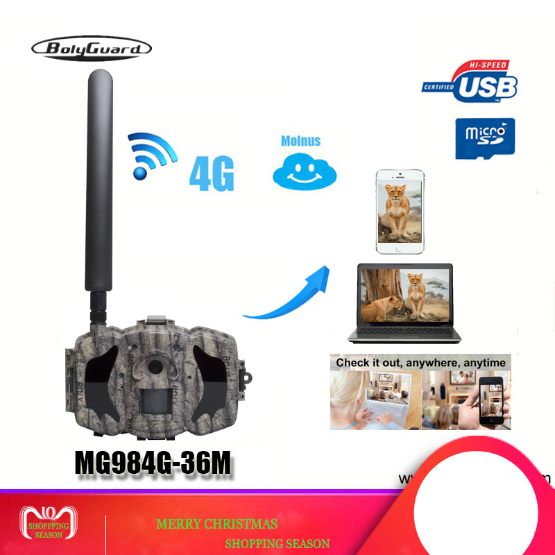 Bolyguard caméra de chasse 4G TrailCamera SMS vision nocturne MMS GPRS Noir IR 36MP 1080 P HD Photo Pièges les caméras thermiques Wildcamera