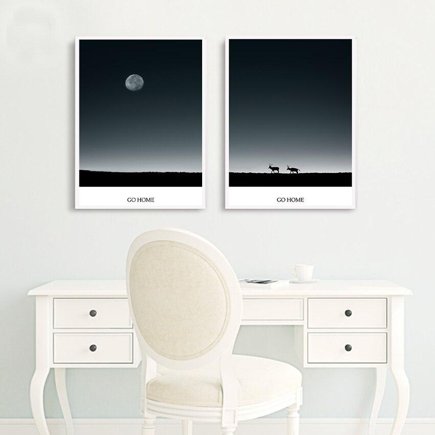 Pojdi domov pod Luno, nordijski odtisi in plakati Zidne slike za - Dekor za dom
