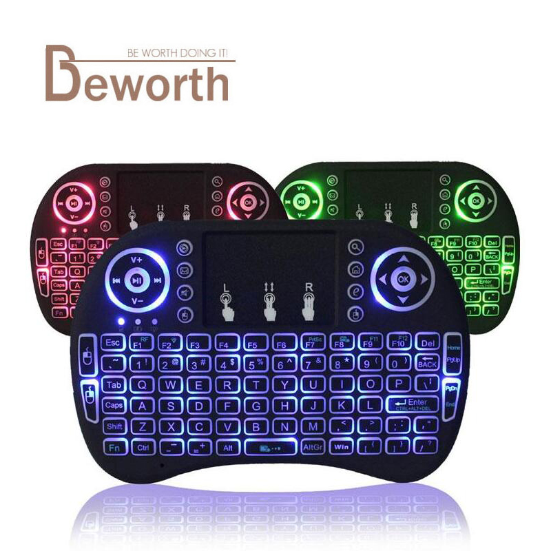 Backlight i8 English Russian 2 4GHz Wireless Keyboard Air Mouse with Touchpad Handheld Backlit for Android