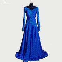 RSE271 V Neck A Line Dress Mother Of Bride Elegant Blue Long Sleeve Dinner Dress