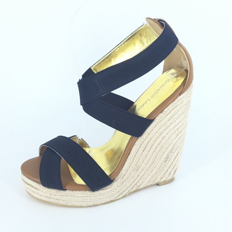 Comfortable Wedge High Heels Women Sandals Rope Heels Platforms Open Toe Shoes Women Summer Cross-tied Sandals Women Thick Heels very fine rare natural green white jadeite stone bracelet bangle