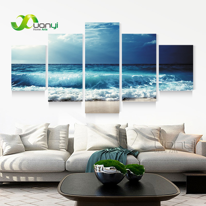 beach wall decor for living room 5 panel sea wave seascape canvas painting 24448