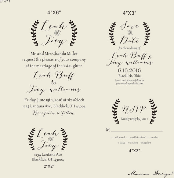 Lauren Branches Custom Rsvp Save The Date Return Address Stamp Set Personalized Wedding Invitation With