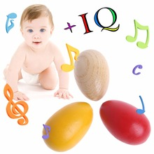 1Pc Wooden Percussion Musical Egg Maracas Shakers Children Kids Toys Fun Gifts