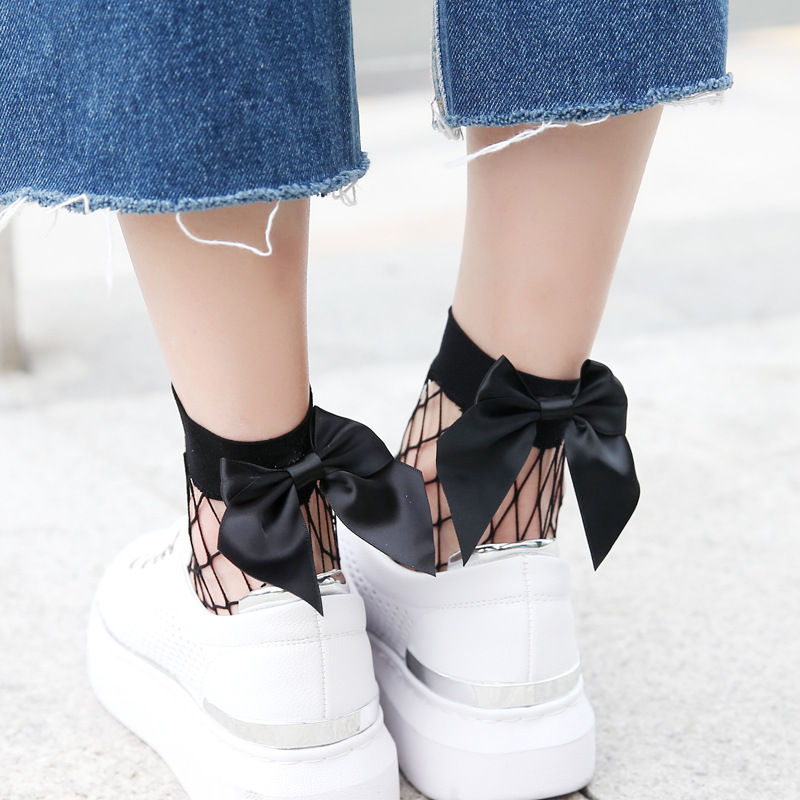 2020 Fashion Cute Women's Harajuku Black Mesh Short Ankle Socks Grid Fishnet Docks Sexy Bow Funny Ladies Socks In The Net Sokken