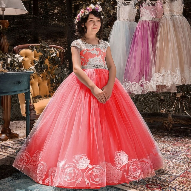 01b5c4d52f527 US $12.98 20% OFF|Kids Birthday Princess Party Dress for Girls Flower  Children Wedding Elegant Dress for Girl Clothes Teenagers 6 10 12 14  Years-in ...