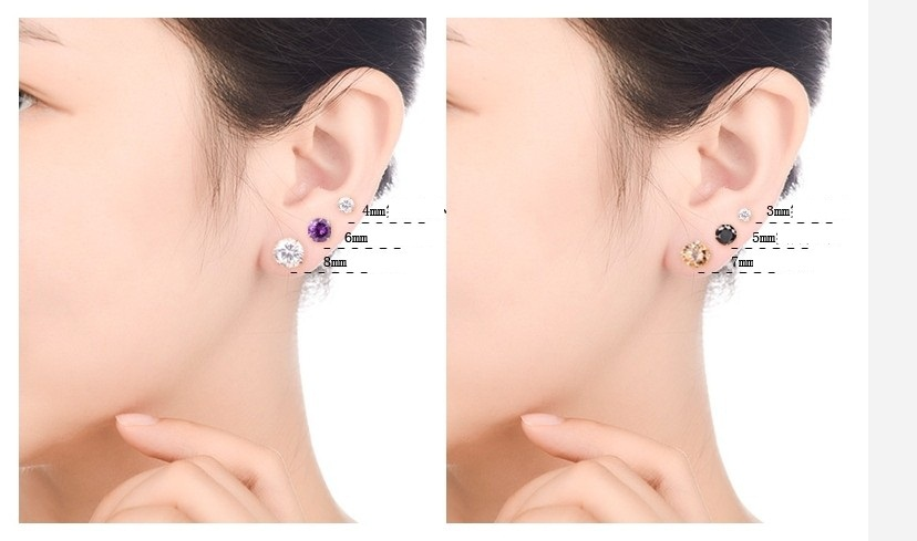 9390b8b3e zincon stud Earrings(3MM)-in Stud Earrings from Jewelry & Accessories on  Aliexpress.com | Alibaba Group
