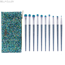 BELLA CULLEN Brand 10Pcs Mermaid Tears Eye Makeup Brushes Collections Kits Blending Make up Brush Professional with Beauty Case