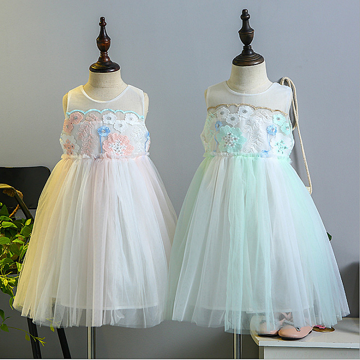 1e9f535b9a0e 5280 Fresh Color Flower Embroidery Princess Party Girls Dress A line Summer  Kids Dresses For Girls Wholesale Baby Girl Clothes-in Dresses from Mother &  Kids ...