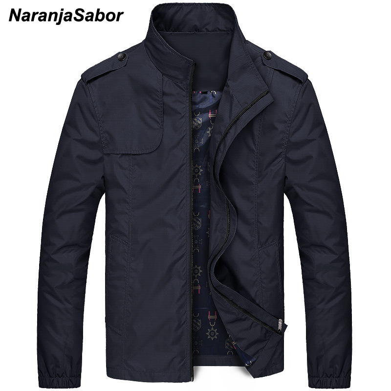 NaranjaSabor Mens Brand Clothing 2019 Autumn Men's Jackets Spring Mens Coats Slim Trench Male Windbreaker Casual Outerwear 4XL