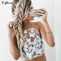 S.gloris Sexy Lace Crop Top Slim Fit Butterfly Lace Insert Halter Bralet Gauze Metallic Women Top Beach Crop Top 90's Camis Top