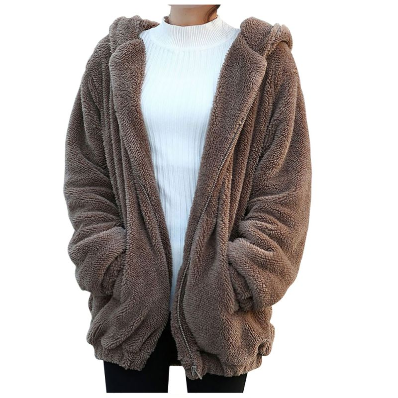 2019 Women Hoodies Zipper Girl Winter Loose Fluffy Bear Ear Hoodie Hooded Jacket Warm Outerwear Coat Cute Sweatshirt