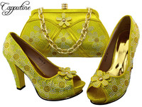 Wonderful party high heel sandal shoes matching with handbag set BCH 38 in yellow ,multi color