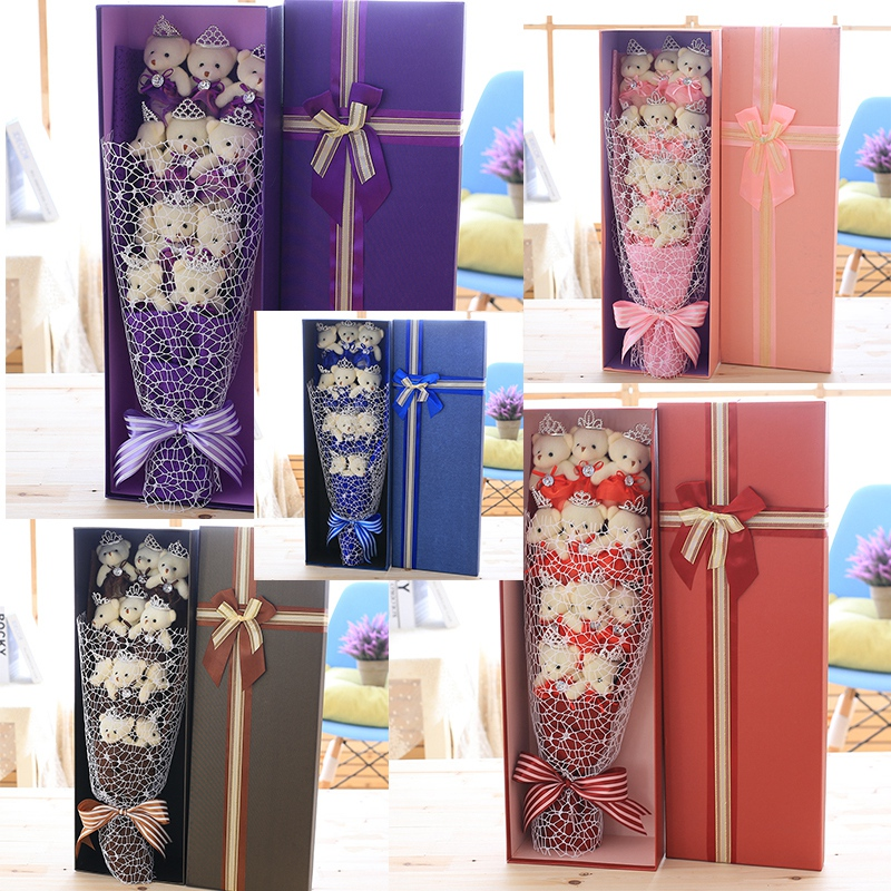 Beau Dessin Animé En Peluche Ours En Peluche Jouets Festivals Cadeaux Bouquet avec Faux Fleurs Pour la Saint Valentin De Mariage Parti Decora
