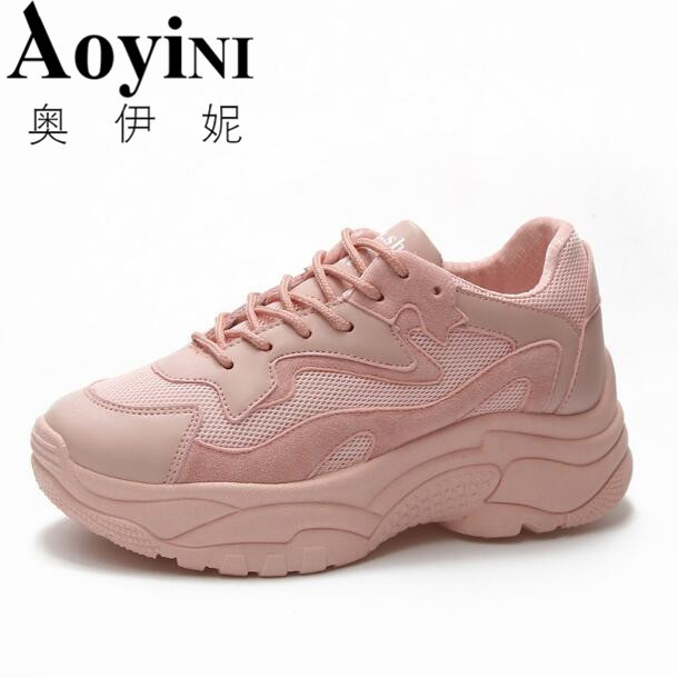 eed7268ab837 Women s Chunky Sneakers 2018 Fashion Basket Women Platform Shoes Lace Up  Pink Woman Trainers High Tops Vulcanized Dad Shoes