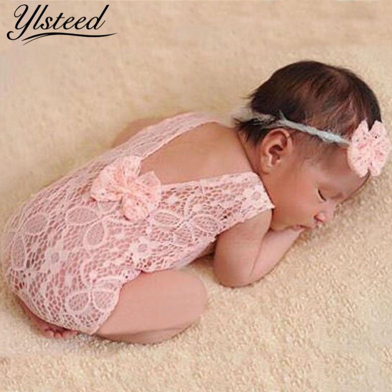 Newborn Photography Props Backless Hollow Bowknot Lace Costume Baby Romper Headband Infant Photo Outfits Baby Girls Photo Props newborn crochet baby costume photography props knitting baby hat bow infant baby photo props newborn baby girls cute outfits
