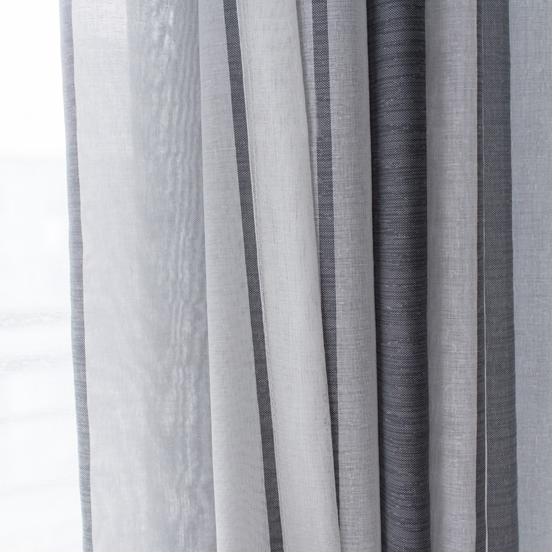 Nordic Simple Gray Linen Sheer Tulle Curtains For Living Room Stripe Modern Curtains Bedroom Window Voile Curtains Blinds Drapes