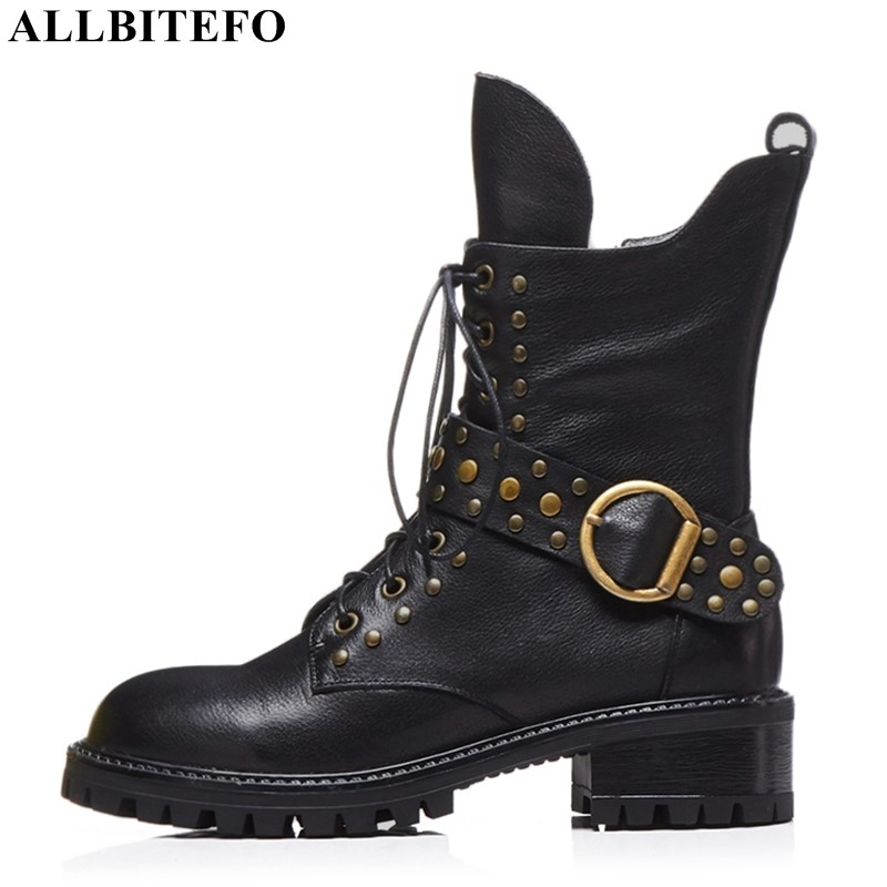 ALLBITEFO fashion rivets nature genuine leather thick heel ankle boots women shoes medium heel martin boots Autumn women boots-in Ankle Boots from Shoes    1