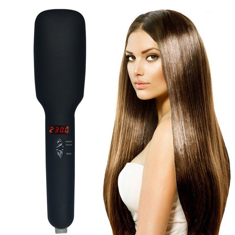 Elétrica ionic plana alisador de cabelo escova