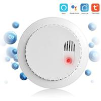 PSCBT CO Smoke Detector Fire Protection Alarm Sensor Tuya Smart APP Message Alarm Google Home Alex