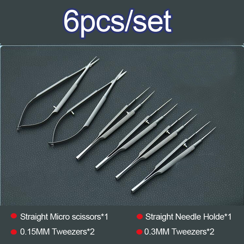 4pcs/set ophthalmic microsurgical instruments 12.5cm scissors+Needle holders +tweezers stainless steel surgical tool