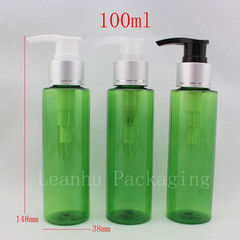 100ml lyxig tom plastkräm Flaska med aluminiumspump, PET Kosmetisk - Hudvårdsverktyg