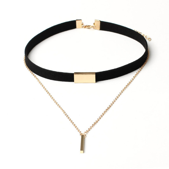 918cfb7da83 Necklaces Mujer Collier Chain Chokers Gold In 2016 Choker Necklace Leather Velvet  Femme Women Collana Jewelry