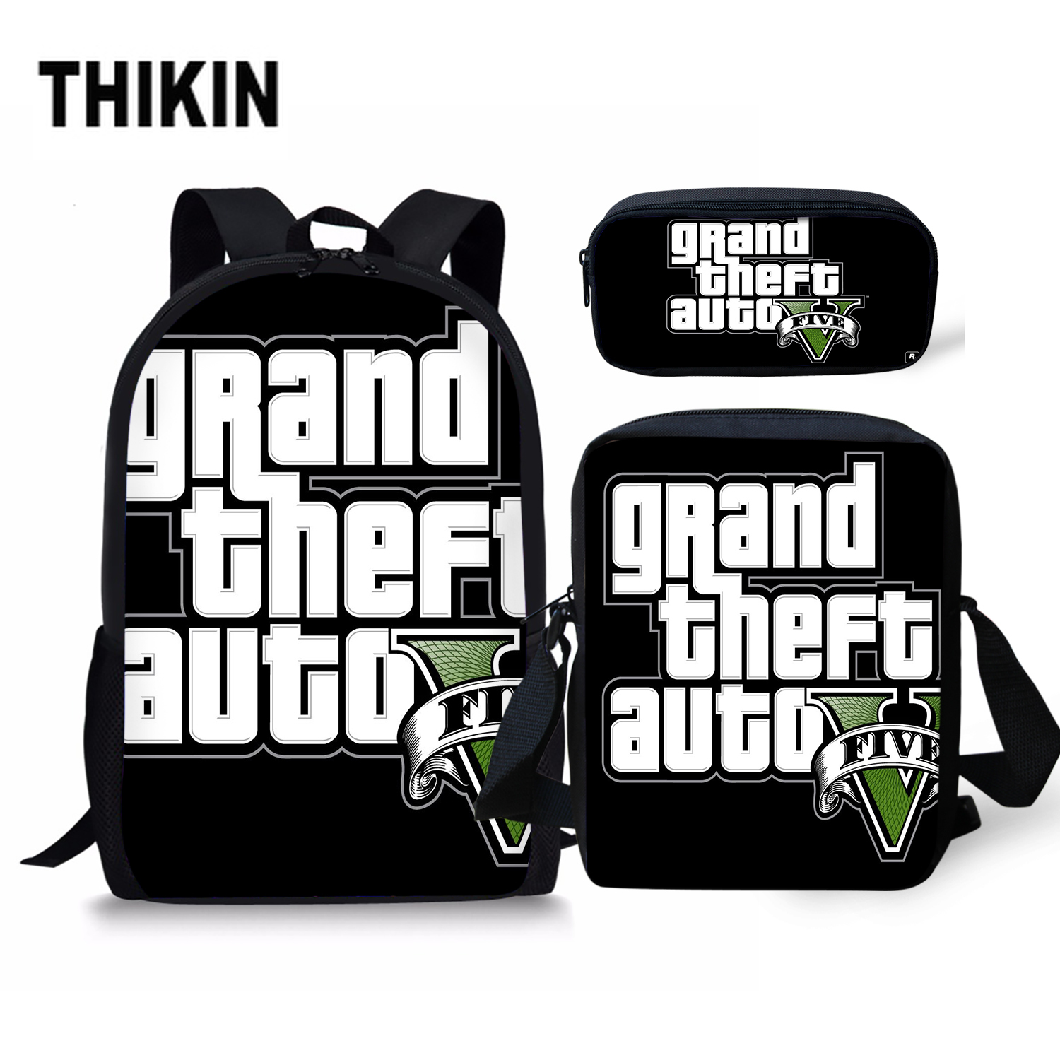 THIKIN Grand Theft Auto Printing School Bag for Men Cool GTA Five Street Fight Kids 3 PCS Schoolbag Boys Teenager Daily Bagpack in School Bags from Luggage Bags