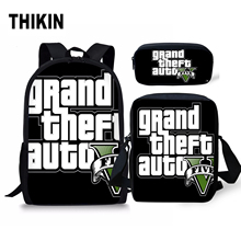 THIKIN Grand Theft Auto Printing School Bag for Men Cool GTA Five Street Fight Kids 3 PCS Schoolbag Boys Teenager Daily Bagpack