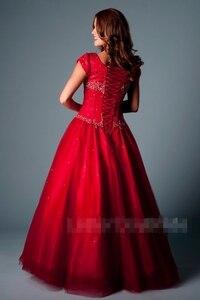Image 2 - Hoàng gia Blue Ball Gown Dài Modest Prom Dresses Với Cap Tay Áo Đính Cườm Crystals Tầng Chiều Dài Cô Gái Thanh Thiếu Niên Trang Phục Chính Thức Prom Đảng gowns
