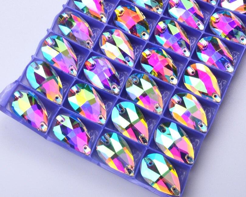 12-28 мм Каплевидная форма шьем на стеклянные стразы швейные камни AB для свадебного платья украшения для одежды платья Сумки