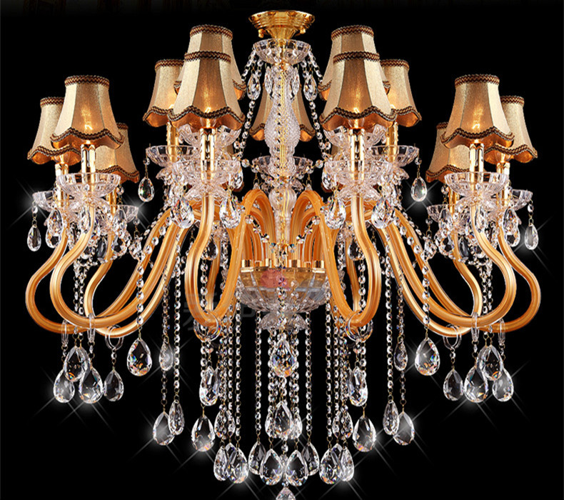 Lustres De Cristal Hotel Lobby Golden Crystal Chandelier Novelty Lighting Luminaria Modern Led Chandelier Living Room