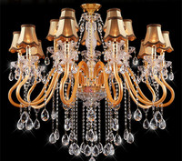 Lustres De Cristal Hotel Lobby Golden Crystal Chandelier Novelty Lighting Luminaria Modern Led Chandelier Living Room