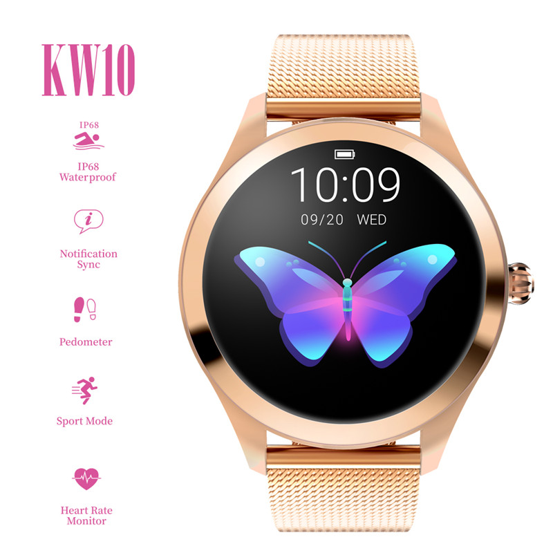 KW10 Fashion Sport Bluetooth Smart Watch Women Ladies Heart Rate Monitor Sleep Monitoring Smartwatch for Ios