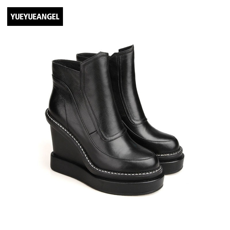 Platform Women Winter 2018 New Fashion Ankle Boots Genuine Leather High Heel Slip On Round Toe Side Zipper Female Warm Shoes farvarwo formal retro buckle chelsea boots mens genuine leather flat round toe ankle slip on boot black kanye west winter shoes