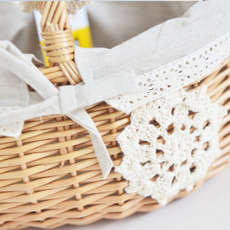 Fresh Zakka Handmade Wicker Basket with Cotton Fabric Lace as Picnic fruits Breads Storage Basket portable Japanese Hand Baskets in Storage Baskets from Home Garden
