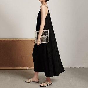 Image 4 - EAM robe longue à caractère féminin, nouveauté printemps/été, col en v, sans manches, Bandage croisé, dos nu, ample, à la mode, JW174