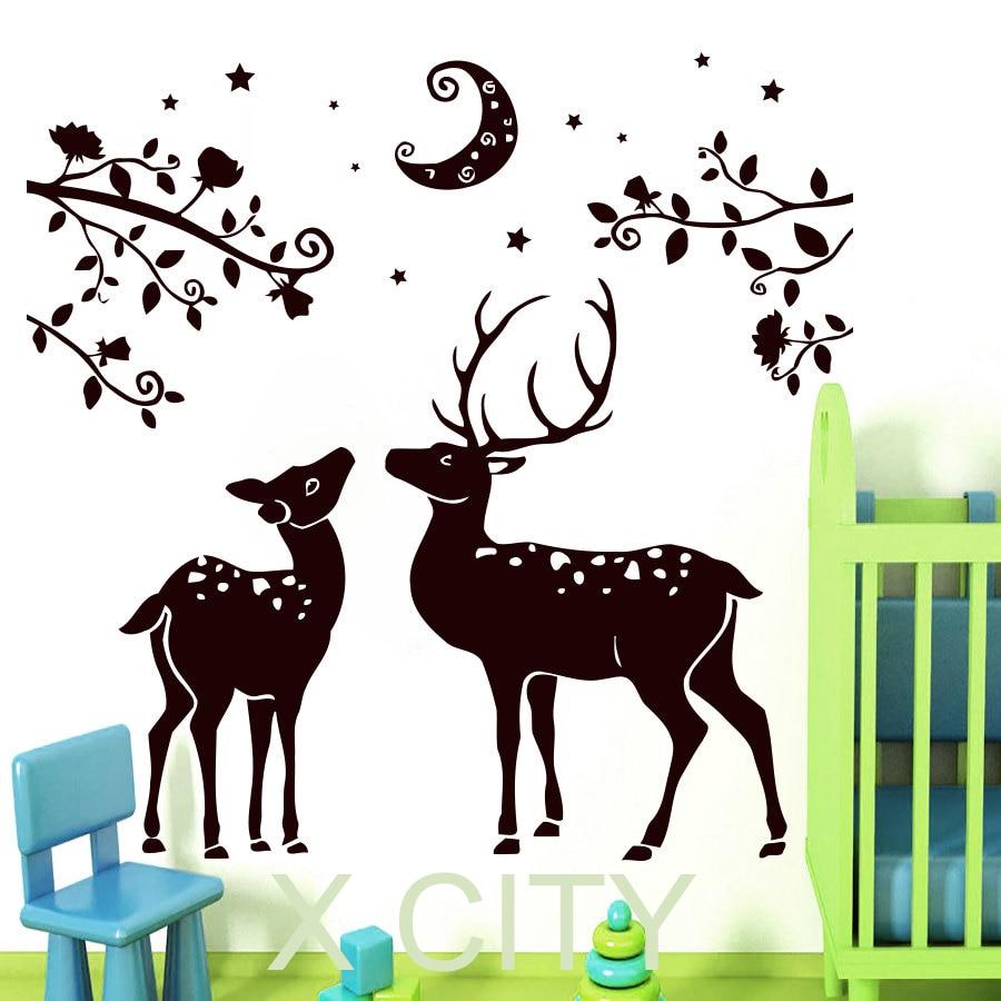 Deer couple wall decal vinyl sticker art home decor design for Deer mural decal