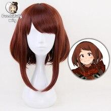 Anime My Hero Academia Ochako Uraraka Cosplay Wigs 35cm Brown Heat Resistant Synthetic Hair Perucas Cosplay Wig + Free Wig Cap цена