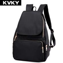 Kvky женская мода нейлоновый рюкзак водонепроницаемый мешок женщин опрятный стиль рюкзак девушки школьные сумки молния плечо женская back pack