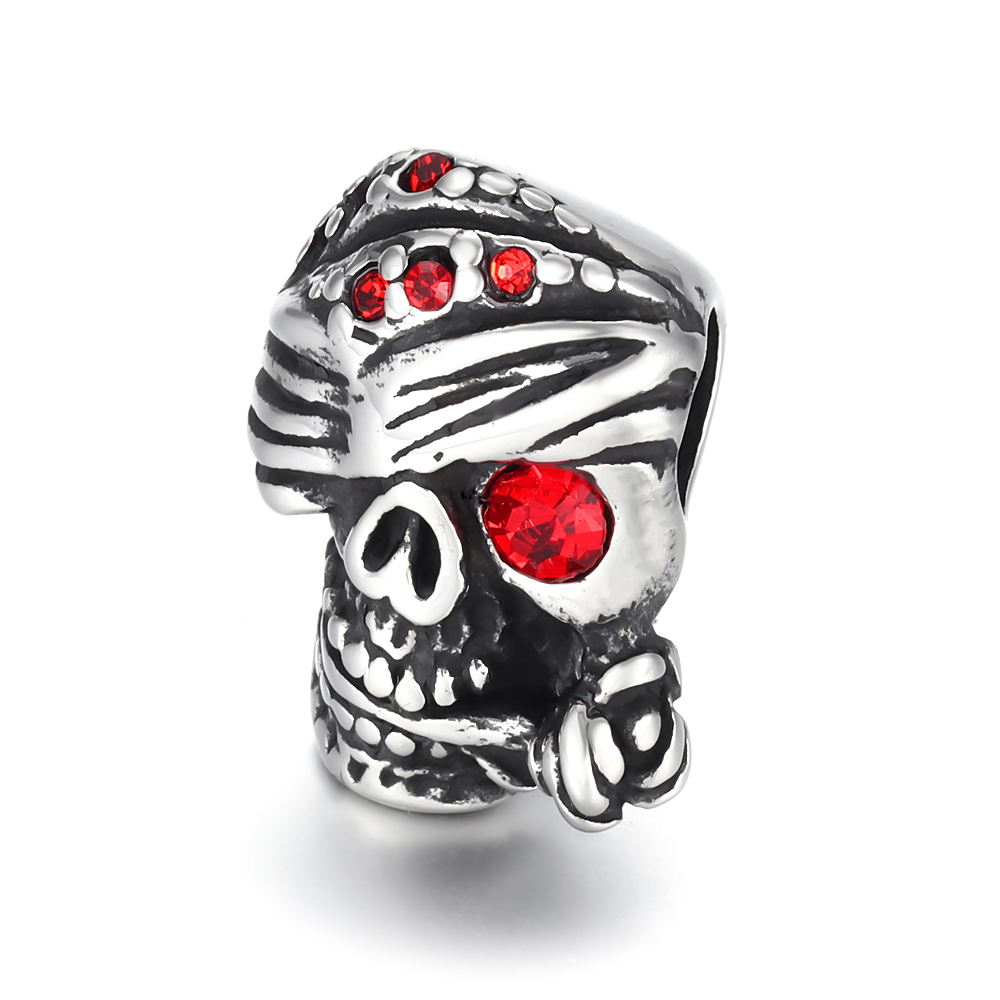Stainless Steel Beads Skull Large Hole 6mm Slide Charm Pendant DIY Men Bracelet Making Supplies Handmade Stone Jewelry Findings in Beads from Jewelry Accessories