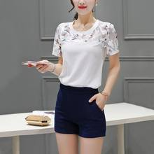 Zomer Blouse Fashion Hollow Out Kant Zoom Vrouwen Blouse En Tops Korte Mouw Top vrouwen Blouse(China)