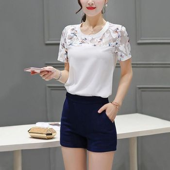 Summer Blouse Fashion Hollow Out Lace Hem Women Blouse And Tops Short Sleeve Top Women's Blouse