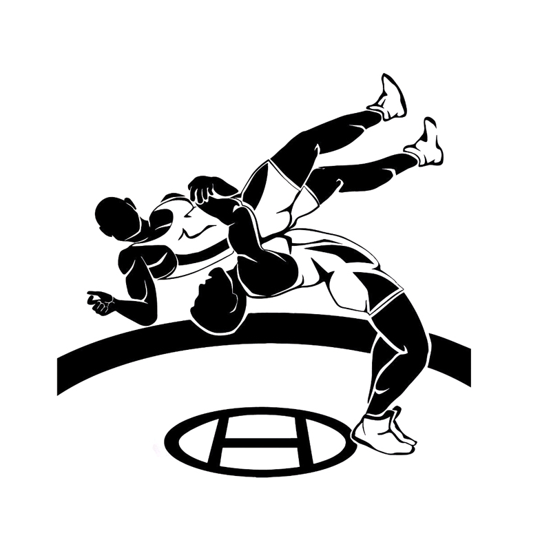 16CM*15.6CM Interesting Wrestling Sport Black/Silver Car Stickers Vinyl Decal S9-0629